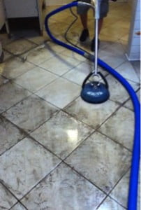 Natural Stone Floor being cleaned