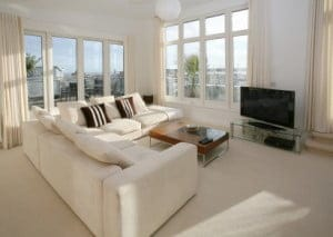 Living room with white couch